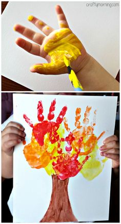 Kids Handprint Fall Tree Craft #Fall Craft for Kids - Fun for toddlers and preschoolers! | CraftyMorning.com