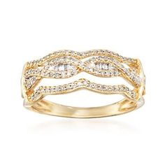 Ross-Simons - .29 ct. t.w. Diamond Open Wave Ring in 14kt Yellow Gold - #838976