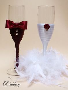 Wedding Champagne Glasses/ Handmade Wedding Flute Glasses/Wedding Decoration/ Bridal/ For the Groom/ Wedding Favors/ Set of 2 glasses