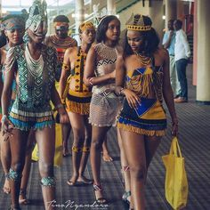 "for the culture ""Squad Goals! to these amazing South African ladies dressed in their traditional tribe attire for . A modern take on is exactly what Q. Beautiful African Women, African Beauty, Beautiful Black Women, African Inspired Fashion, Africa Fashion, African Fashion Dresses, Tribal Fashion, African Attire, African Wear"