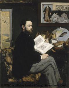 MANET - Portrait d'Emile Zola - 1868 - Orsay (au mur, repro de l'Olympia de Manet, gravure de Bacchus de Velazquez -> gout commun pour l'art espagnol, paravent et gravure japonais)
