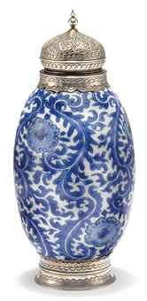 A blue and white silver mounted vase for the Islamic market, Kangxi Period, late 17th early 18th century