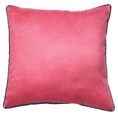 almofada aveludada rosa com vivo marinho - Kasa 57