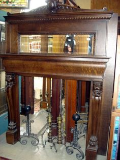 Antique Fireplace Mantels With Mirrors Original Beveled