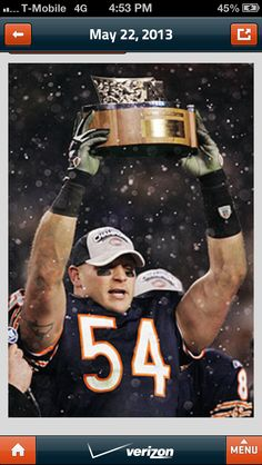 13 Great Years Thanks for all the memories you brought to us fans who fill Soldier Field proudly wearing #54