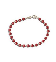 """14k Yellow Gold Red Coral Bead Baby Child Kids Bracelet 5.5"""""""