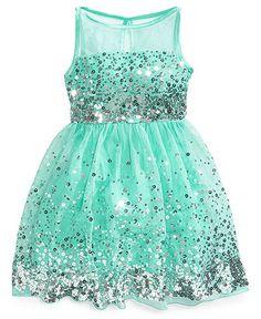 Ruby Rox Girls' Sequin Illusion Dress | Web ID: 1269762 | Aqua Flower Girl Dress from Macy's $58.99