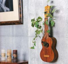 Vines Bonsai In Unused Mini Wooden Ukulele Hanging On Grey Wall For Interior House Decoration Picture Beautiful Bonsai for Interior House Decorations Photo Interior Photograph. Home Exteriors Guitar Decorations, Yard Decorations, Decoracion Low Cost, Deco Luminaire, Diy Casa, Creation Deco, Ways To Recycle, Reuse, Interior Decorating