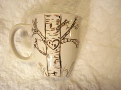 Initials on tree mug.. Love this as a method of the Sharpie mug! Even has me and my boyfriends initials on it!!! Meant to be!
