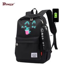 USB School Backpack Laptop Women Bag Cat Black High Capacity Back Pack Girl  Cute Oxford Teenager Bagpack Luminous Book BagS 2018 From Touchy Style  Outfit ... 5768287550ee0