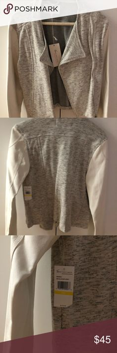 Vince Camuto sweater jacket Brand new with tags Two by Vince Camuto gray sweater with white faux leather sleeves. Slight marking on one of the sleeves as shown in picture. PM Two by Vince Camuto Jackets & Coats