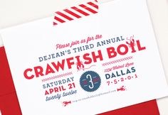 Summer Crawfish Boil Invitations by Palm Papers via Oh So Beautiful Paper