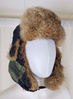 Mad Bomber Sketch Print Trapper Aviator Nylon 100% Rabbit Fur Lined Hat  Mens XL   e6ecb7b9a3e2