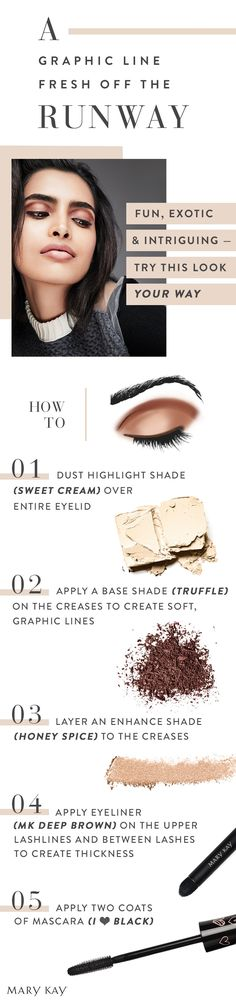 Fun, exotic and intriguing — try this runway makeup your way. This look is graphic and very of-the-moment. Do you dare? Mary Kay Eyeshadow, Mary Kay Makeup, Eyeshadow Looks, Spa Facial, Beauty Skin, Beauty Makeup, Eye Makeup, Makeup Tips, Selling Mary Kay