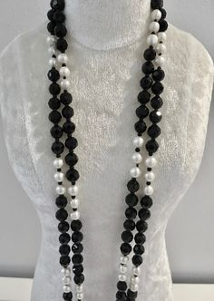 Onyx and Pearl Necklace (1) at $130 Check out - Belle4ever.com