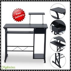 Compact Computer Desk Laptop Space Saver Table Workstation Home Office Furniture