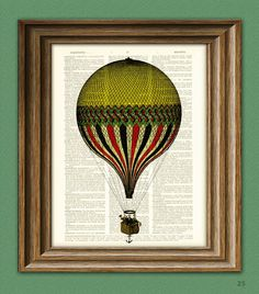 Print On Dictionary Page Cool Yellow and Red and Black Striped Hot Air Balloon voyage illustration dictionary page book altered art print. $7.99, via Etsy.