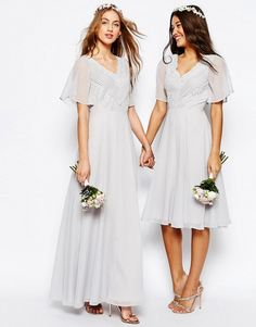 Dove-Gray Chiffon Bridesmaid Dresses with Flutter Sleeves