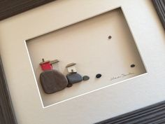 8 by 10 pebble art with seaglass houses by PebbleArt on Etsy