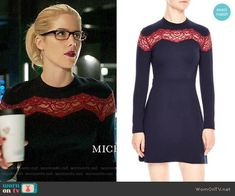 Felicity's navy dress with red lace stripe on Arrow.  Outfit Details: https://wornontv.net/89178/ #Arrow