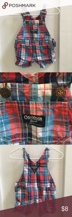 Blue and red plaid overalls Excellent condition. These are absolutely adorable! Osh Kosh Bottoms Overalls