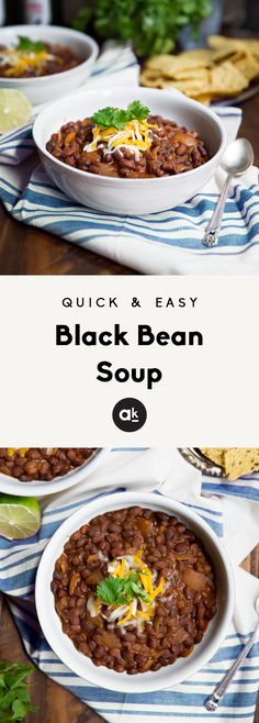 A super easy and delicious black bean soup that's ready in about 35 minutes. It's incredibly simple, flavorful, healthy, and filling. Southwest Black Bean Soup Recipe, Easy Black Bean Soup, Easy Diabetic Meals, Diabetic Meal Plan, Diabetic Recipes, Vegan Recipes, Diabetic Foods, Free Recipes, Easy Recipes