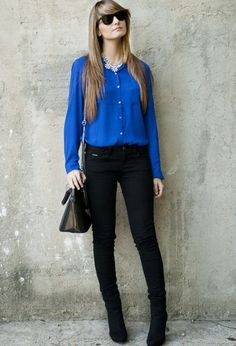 #outfit #ideas / #chic #capsule #wardrobe / #black #skinny #jeans and royal blue #top hope it will fit better than her