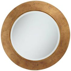 This round wall mirror features a heavily distressed and oxidized antique gold leaf frame. Glass only section is 22 wide. Style # at Lamps Plus. Round Wooden Mirror, Round Wall Mirror, Round Mirrors, Mirror Hanging Brackets, Industrial Mirrors, Vanity Wall Mirror, Green Throw Pillows, Beveled Glass, Gold Leaf