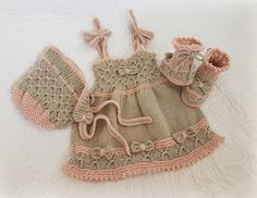 Little Bo-Peep Baby Dress, Bonnet and Bootie Set - 24 months) -- PDF Knitting pattern-- Baby Clothes Patterns, Baby Knitting Patterns, Baby Patterns, Free Knitting, Kids Knitting, Weaving Patterns, Knit Baby Dress, Baby Cardigan, Baby Set