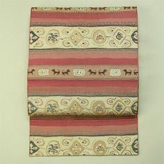 Brown, rokutsu hassun nagoya obi / 茶系 横段の獣と抽象柄 六通八寸名古屋帯