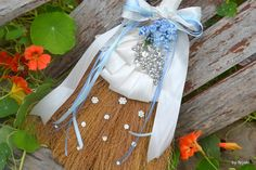 Something blue jeweled wedding broom  custom jumping by Noaki, $75.00