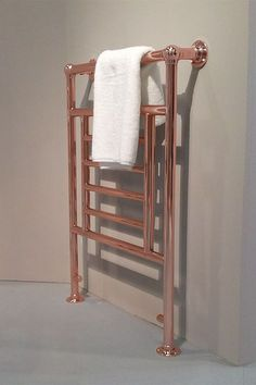 Copper plated bathroom towel rail in traditional style inspired by the Victorian era. High quality copper radiator made in Britain. Traditional Towel Radiator, Traditional Bathroom, Bathroom Radiators, Radiators Uk, Copper Taps Kitchen, Copper Bathroom Accessories, Electric Towel Rail, Bathroom Towel Rails, Diy Bathroom Remodel