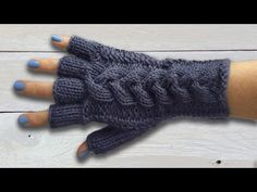HOW TO KNIT FINGERLESS GLOVES - With individual fingers and lace cuff. Part 3 of 3 - YouTube
