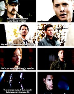 [gifset] Dean being told the truth about his character. Makes you want to reach through and give him a hug!