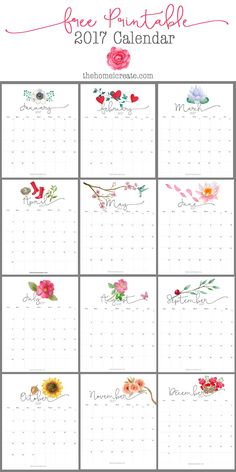 Easy to print at home free pretty 2017 monthly printable calendar. via @homeicreate