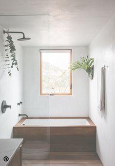 Bathroom Decor modern bathroom with wood bath tub. / Bathroom Decor modern bathroom with wood bath tub. Minimalist Bathroom Design, Minimal Bathroom, Minimalist Interior, Minimalist Bedroom, Bathroom Interior Design, Minimalist Decor, Simple Bathroom, Minimalist Design, Minimalist Kitchen