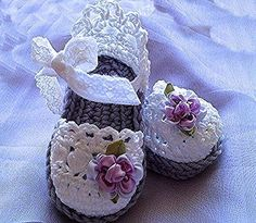 Items similar to Baby Girl Booties, Easter Lavender Booties, Baby Crochet Sandals on Etsy