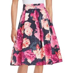 Eliza J Floral Midi Skirt featuring polyvore, women's fashion, clothing, skirts, pink, a line skirt, long midi skirt, knee length pleated skirt, long pink skirt and pleated skirt
