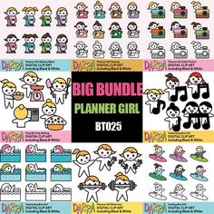 Hobby clipart sale bundle / planner girl clip art download / sewing, baking, taking pic, swimming, work out, surfing, singing / activities