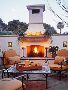 Who wouldn8217;t want to snuggle up next to this outdoor fireplace