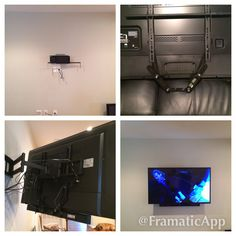 Samsung Smart LED TV on full motion wall mount with Rocketfish soundbar mount attached to bottom of TV mount. Full Motion Wall Mount, Home Theater Design, Wall Mounted Tv, Condo, Family Room, Samsung, Led, Interior, Charlotte