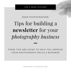 Tips for building a newsletter for your photography business