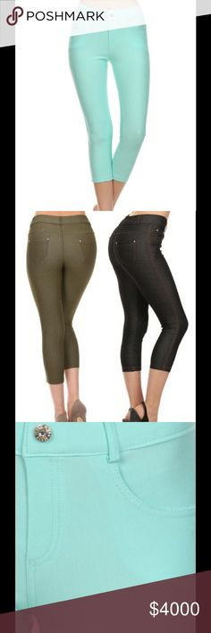 """🔥MINT CAPRI JEGGINGS🔥 Pretty & feminine Mint Jeggings. They feature 5 pockets & faux zipper & button.  Available in Sizes:  🔵S/M 26"""" Waist, 32 1/2"""" Hips, 9"""" Front Rise & 12"""" Back Rise 🔵M/L 28 3/4"""" Waist, 34"""" Hips, 9 3/4"""" Front Rise, & 13"""" Back Rise 🔵L/XL 30 1/2"""" Waist, 36"""" Hips, 10 1/2"""" Front Rise, & 14"""" Back Rise   Cotton/Polyester/Spandex  🔵No trades. Price is firm unless bundled Southern Charm Boutique Pants Capris"""