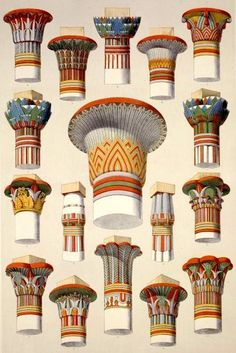 Ancient Egyptian Capitals Illustration of the. - Egyptian Capitals Egyptian Capitals from… - Ancient Egyptian Architecture, Architecture Antique, Art And Architecture, Ancient Egypt Art, Ancient Greece, Ancient Artifacts, Ancient Aliens, Ancient History, Egypt Museum
