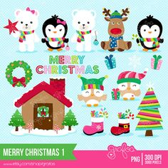MERRY CHRISTMAS 1 Christmas Clipart Penguins Clipart by grafos, $5.00