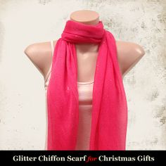 Glitter Chiffon Scarf (Hot Pink)