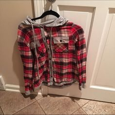 hooded plaid sweatshirt Very cute!! Barely worn, and in amazing condition!! Open to trades. Price is firm!! Passport Sweaters Crew & Scoop Necks