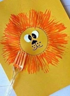 Lion painting fork craft