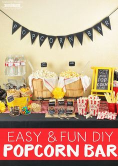 """DIY Popcorn Bars are """"popping"""" up at all types of parties and get together's! Here are a few tips for Creating the Best DIY Popcorn Bar at your next gathering. Diy Popcorn, Popcorn Toppings, Best Popcorn, Popcorn Bar Party, Popcorn Theme, Kids Party Snacks, Birthday Party Snacks, Diy Snacks, Birthday Ideas"""