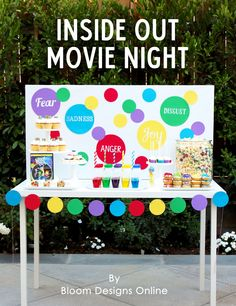 Inside Out Movie Night- simple step by step directions and recipes to recreate this theme #ad #InsideOutMovieNight